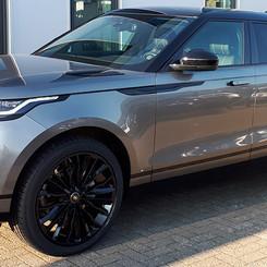 Grey Range Rover Velar on HAWKE Harrier wheels in Black colour finish