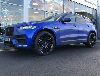 Blue Jaguar F-Pace on HAWKE Vega wheels in Black colour finish