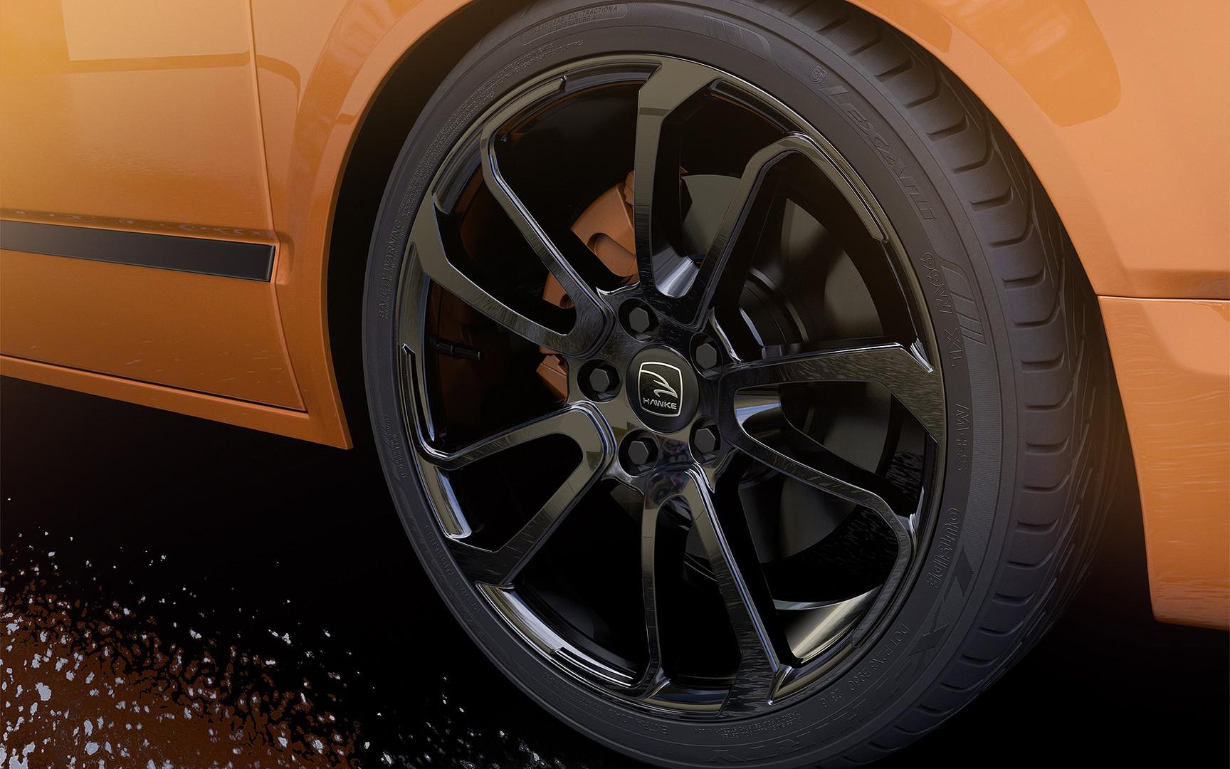 Orange Range Rover Transporter T6 on HAWKE Falkon wheels in Black colour finish