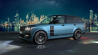 Blue Range Rover Vogue on HAWKE Dresden wheels in Black Polished colour finish