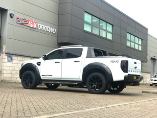 White Ford Ranger on HAWKE Knox wheels in Matt Black colour finish