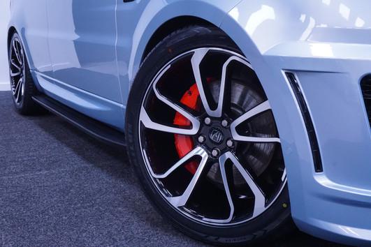 Blue Range Rover Sport on HAWKE Falkon wheels in Black Polished colour finish
