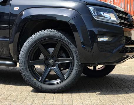 Black VW Amarok on HAWKE Ridge wheels in Matt Black colour finish