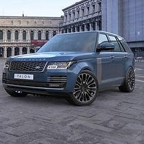 Blue Range Rover Vogue on HAWKE Talon wheels in Black Polished colour finish