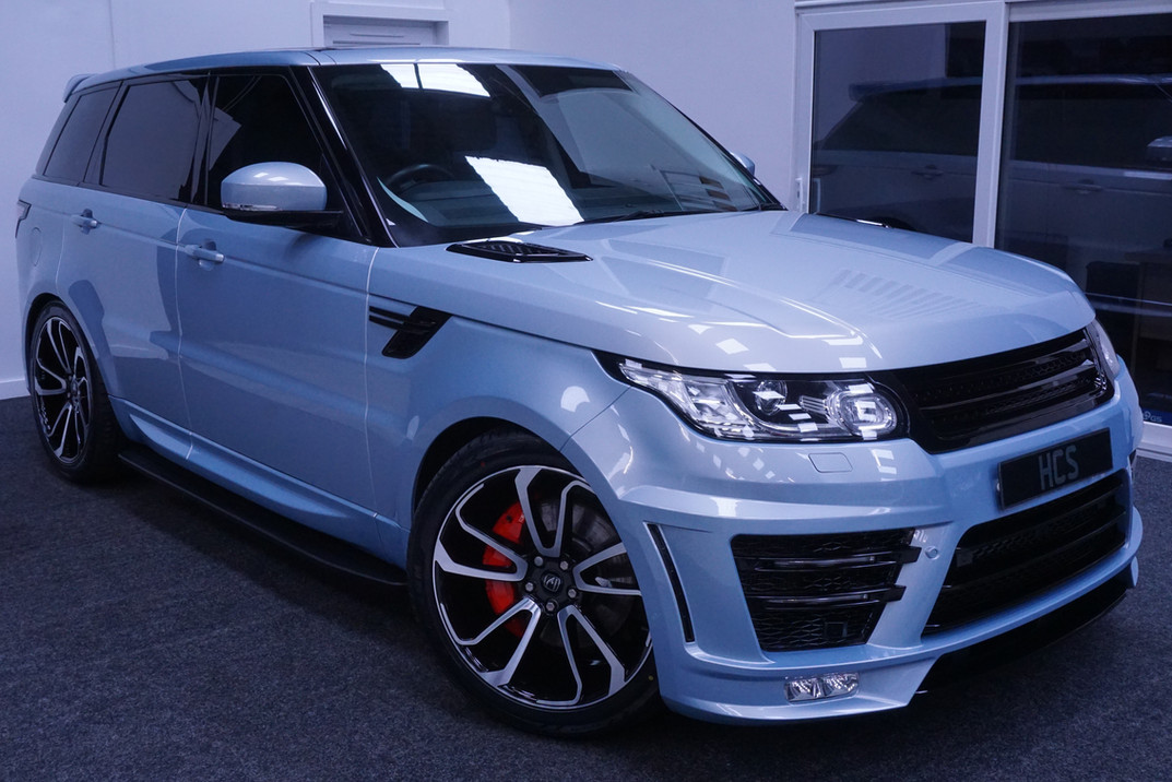 Blue Range Rover Sport on HAWKE Falkon wheels in Black Polished colour finish