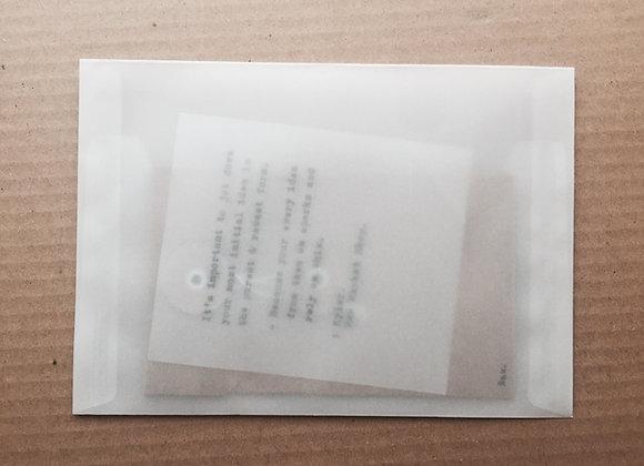 Transparency Envelope : Post card size