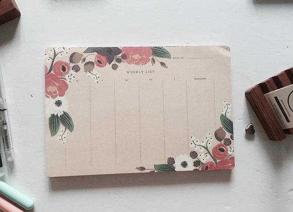 Floral weekly pad