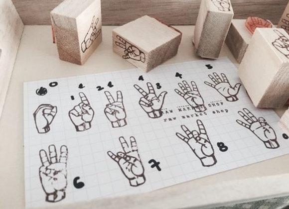 Number (ASL) Hand stamp set