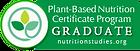 Plant Based Nutrition Certificate Badge.