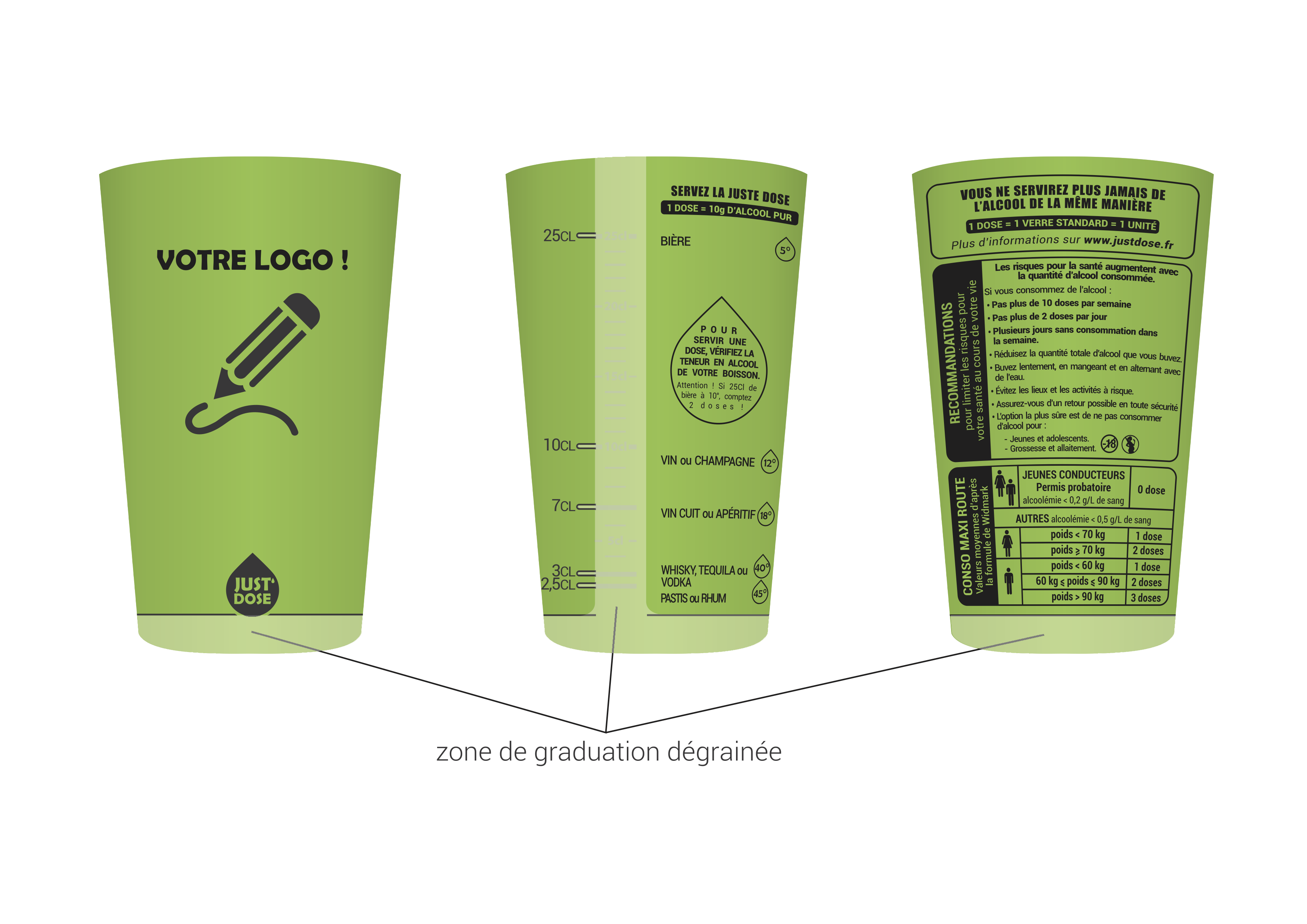 gobelet personnalisable justdose vert cl