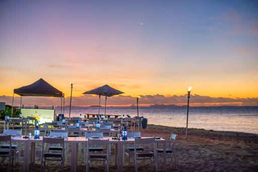 Beachfront dining set up