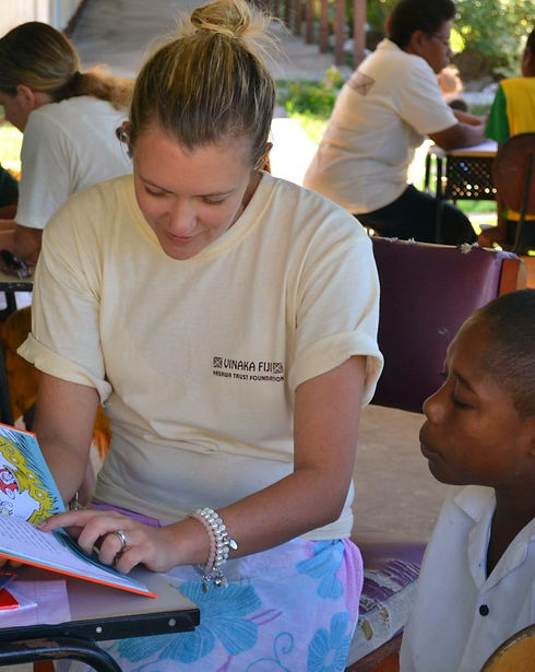 Reading lessons with Vinaka Fiji