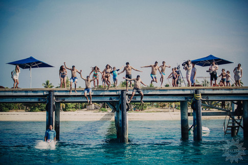 Guests doing the jetty jump