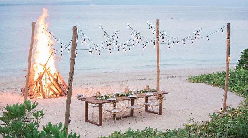 Fiji wedding venue beach bonfire