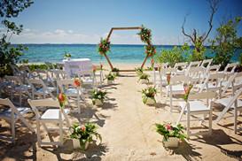 Beachfront wedding set up