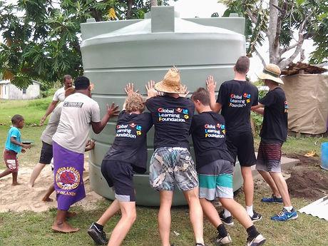 Installing water tanks with Vinaka Fiji