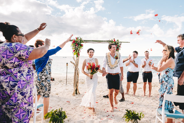 Beachfront ceremony set up