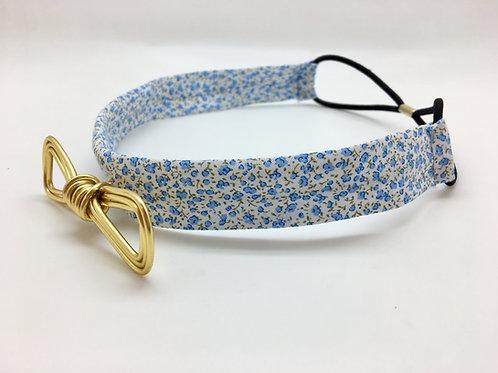 Headband fleuri bleu et doré