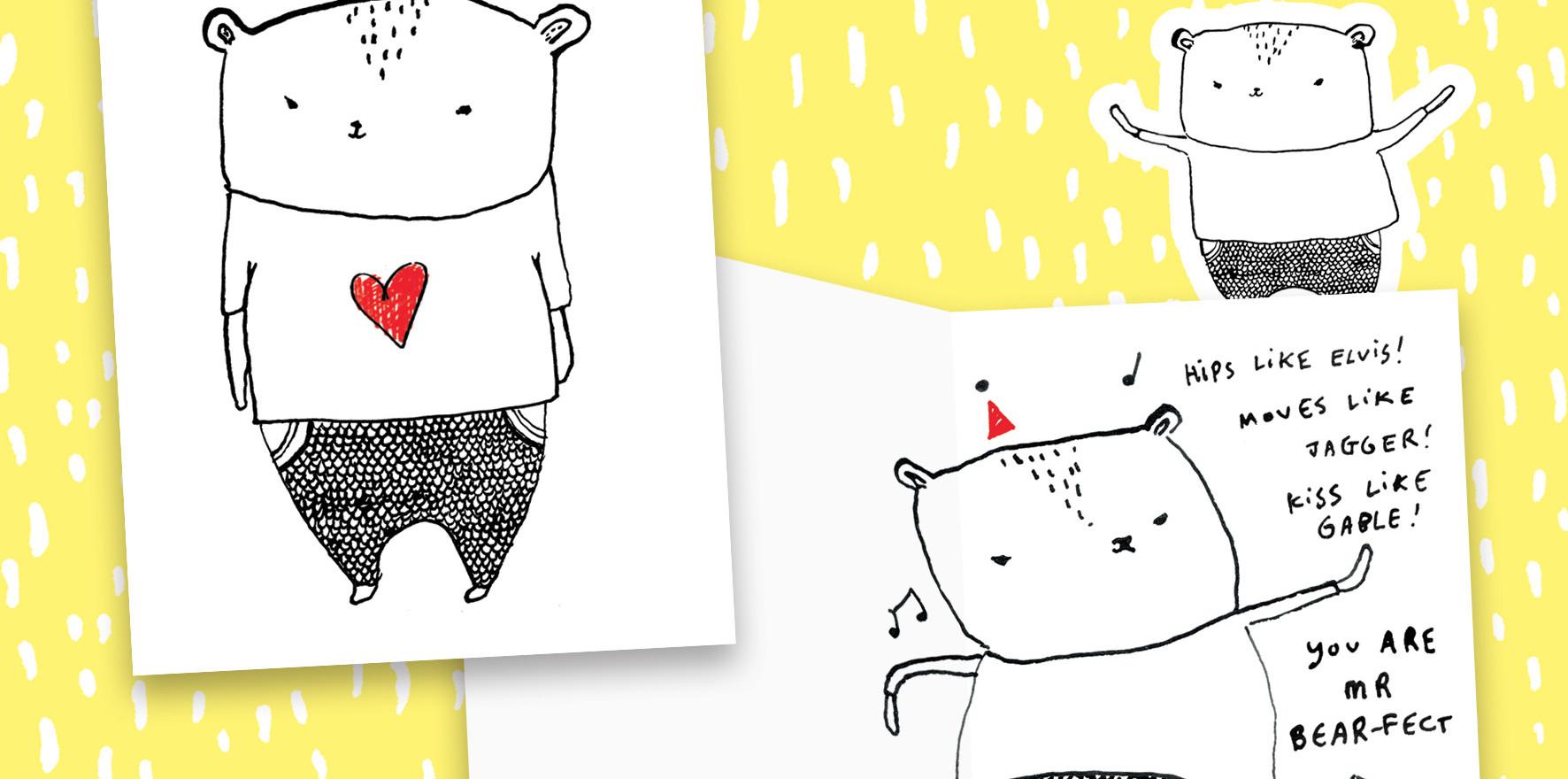 Hangry Bear greetings card design