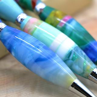 手作りペン作家Viriditasカテドラルブルー生地スクエア001.JPG