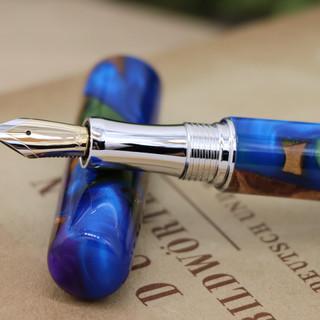 手作りペン作家Viriditas万年筆GRFカテドラルブルー002.JPG