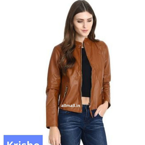 Faux Leather Jacket In Brown