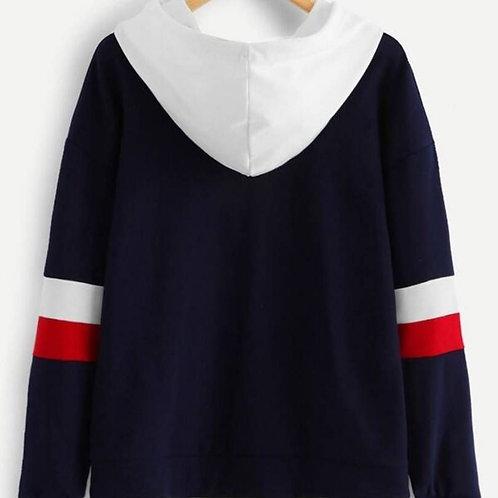 Women's Navy Blue Fleece Hooded Jacket