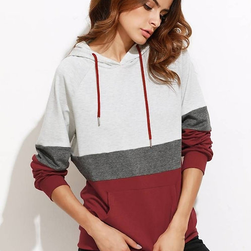 Women's Grey Dark Grey Red Raglan Sleeve Pocket Hoodie