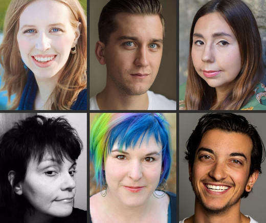 Headshots of six emerging playwrights unit members (top left to right): Wren Brian, Kristian Jordan, Frances Koncan (bottom left to right) Jo MacDonald, Alissa Watson, Liam Zarillo