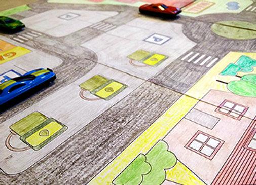 קובץ דיגיטלי שטיח עיר - העיר הגדולה - להדפסה, צביעה ומשחק