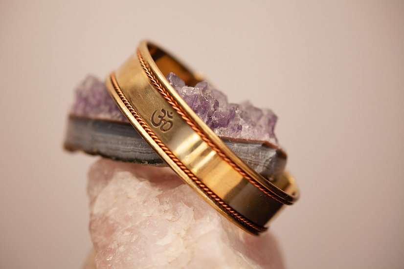 Antiqued Copper and Brass Om Bracelet cuff