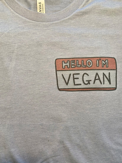 Unisex Vegan Nametag T- Heather Blue