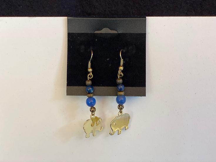 Little Golden Elephants in Blue