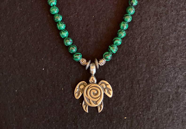 "14"" Turtle Necklace with malachite crystal"