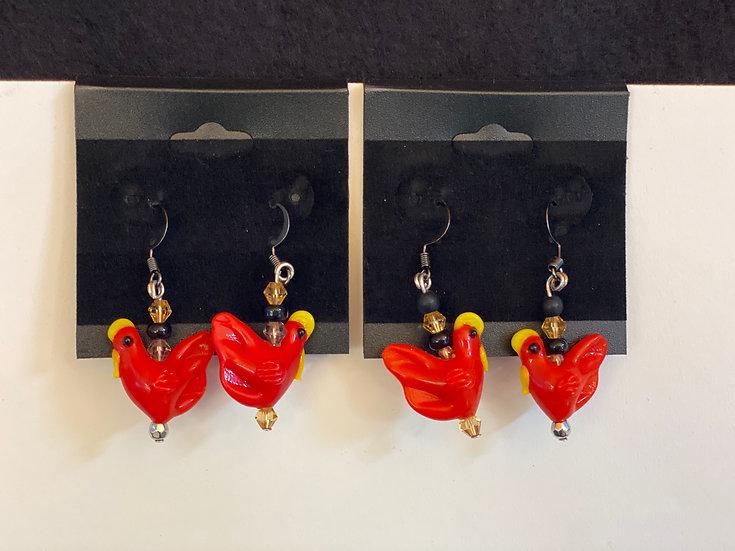 Red glass chicken earrings