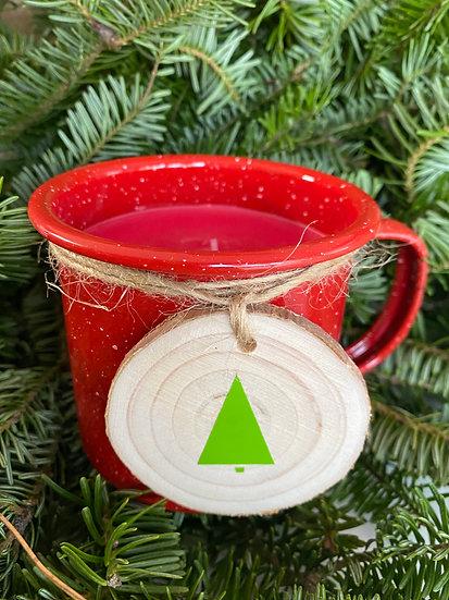 Candy Cane Camping Mug Candle