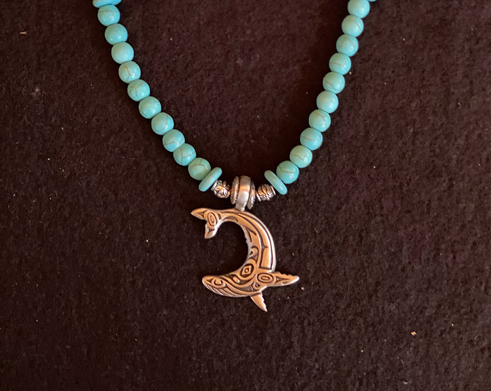 """16"""" Whale with turquoise crystals"""