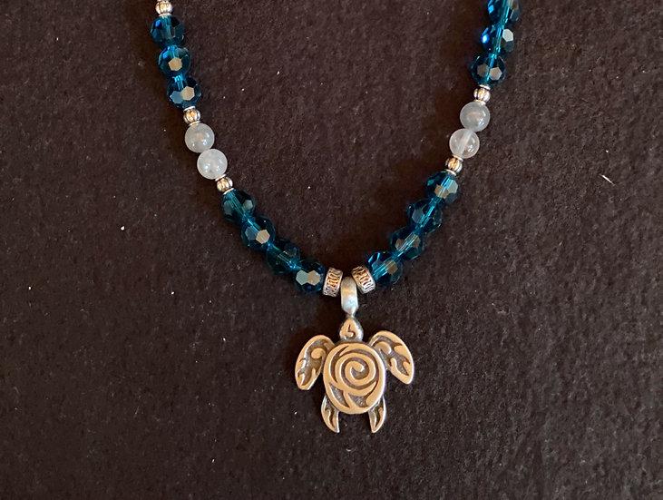 "18"" Blue Turtle Necklace"