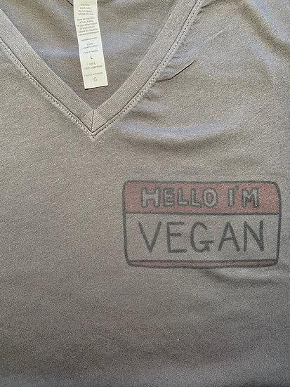 Women's Vegan Name Tage T-shirt Heather Grey