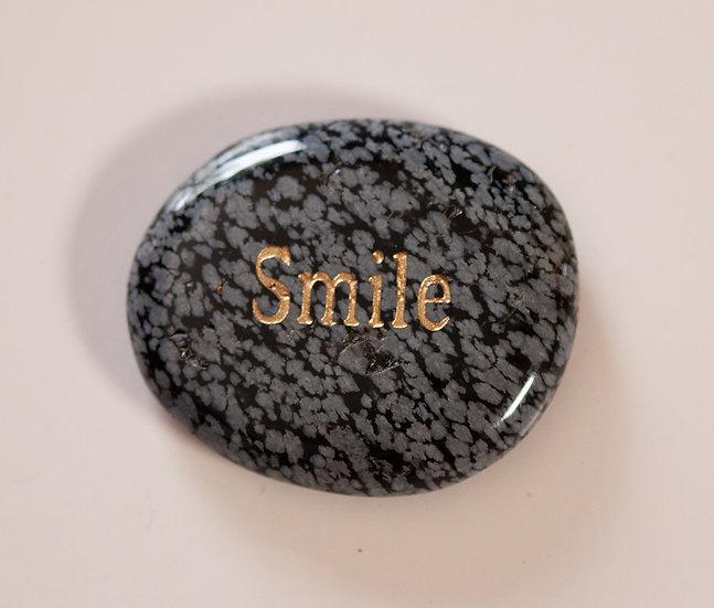 Smile- Snowflake Obsidian Wish Stone