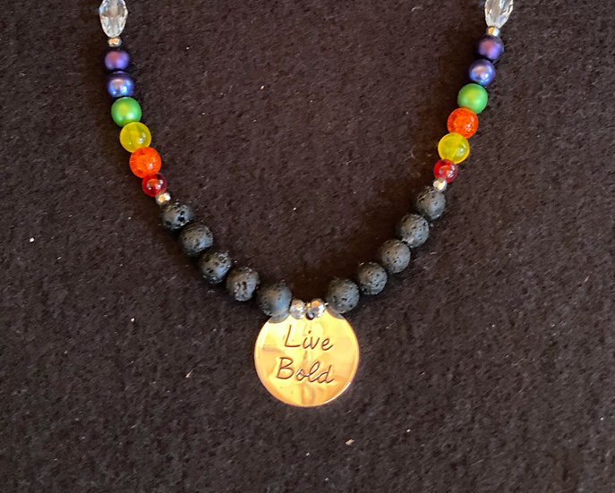 "18"" Live Bold with lava rocks and chakra beads"