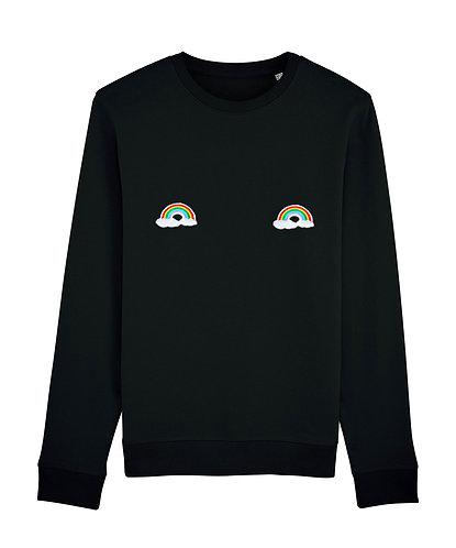 sweat, sweatshirt motif, imprimé, dessin, arc-en-ciel, noir, sur les seins, la poitrine, titsup