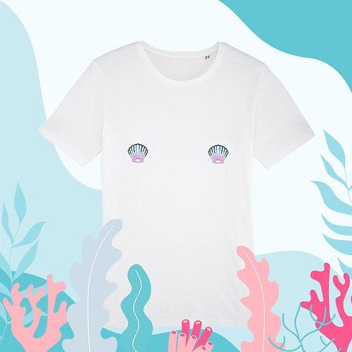 Tee-shirt, t-shirt motif, imprimé, dessin, seashell, blanc; bleu, sur les seins, la poitrine, titsup