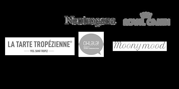 logo partenaires, revlon, la tarte tropezienne, neutrogena, royal canin, moony mood, ohlala