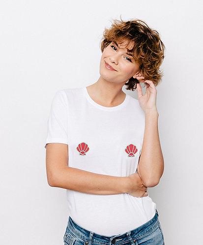 Tee-shirt, t-shirt motif, imprimé, dessin, coquillage, blanc, sur les seins, la poitrine, titsup