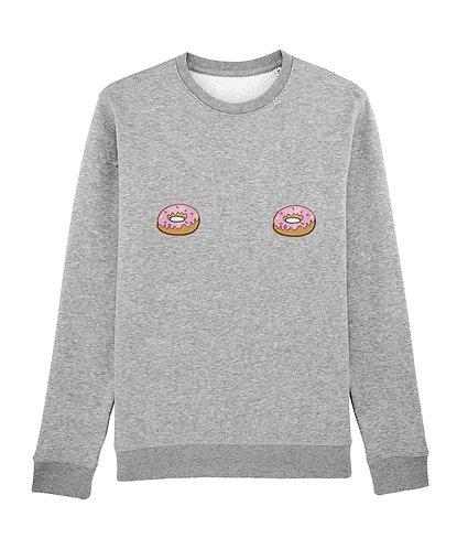 sweat, sweatshirt motif, imprimé, dessin, donuts, gris, sur les seins, la poitrine, titsup