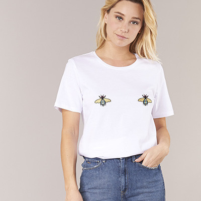 t-shirt blanc moony mood et titsup abeille spartoo