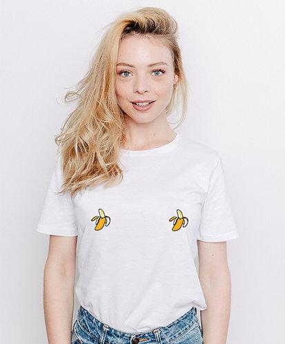 Tee-shirt, t-shirt motif, imprimé, dessin, banane, blanc, sur les seins, la poitrine, titsup
