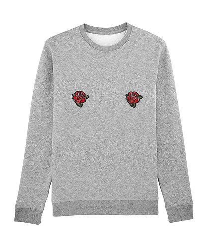 Sweat, sweatshirt, motif, imprimé, dessin, roses, gris, sur les seins, la poitrine, titsup