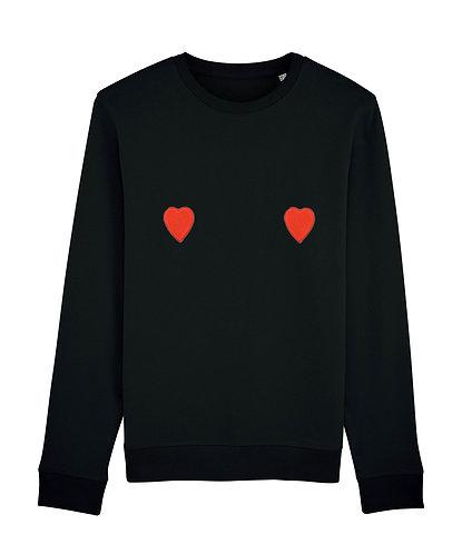 Sweat, sweatshirt, motif, imprimé, dessin, coeur rouge, noir sur les seins, la poitrine, titsup